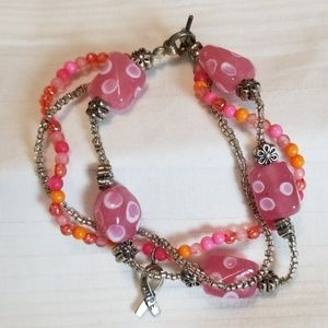 Jewelry - Silver Pink Bead Breast Cancer Charm Bracelet